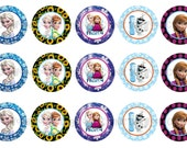 "1"" FROZEN Elsa Anna Olaf Bottle Cap Image Sheets Party Favors Cupcake Topper Magnet Stickers Printables Bottlecap Instant Download."