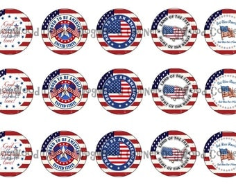 "1"" God Bless America 4th Of July Bottle Cap Image Sheets Party Favors Cupcake Topper Magnet Stickers Printables Bottlecap Instant Download."