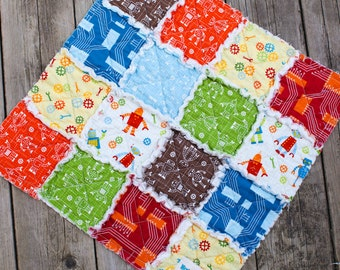 20% Off Summer Sale, Robot Factory, Green and Blue and Orange and Brown, Rag Quilt Lovey, READY to Ship