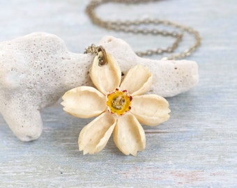 Edelweiss Necklace - Antique Lucite Alpine Flower Pendant on Brass Chain
