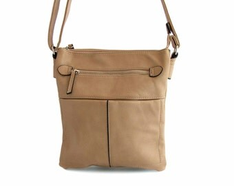 Leather Messenger Bag with Silver Zippers, Handmade in Beige Vegan Leather  -  the Horora - sale with coupon code TRACBAG30OFF345