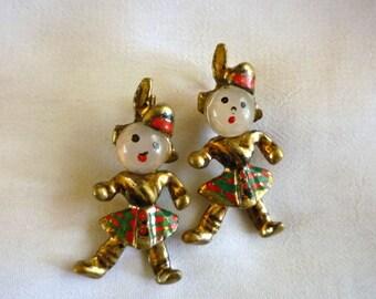 Scottish Figural Scatter Pins, Highland Dancers Figural Pin Brooches, Vintage Scatter Pins