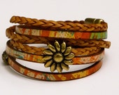 Leather Braid Wrap Bracelet, Whirly Wrap, Multi Colored Leather, southwest colors, antique brass sunflower, secure magnet, easy on,