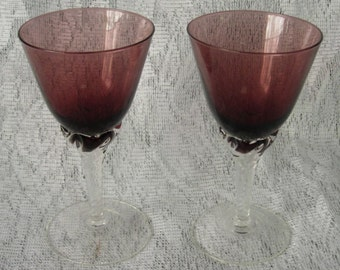 Set of 2 Cranberry Wine Glasses with Swirled or Twisted Clear Stems