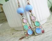 Enameled Copper Lampwork Dangle Earrings Rustic Swirls