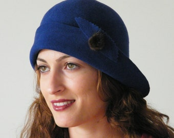 Miss Fisher hat, royal blue felt hat, Downton Abbey hat, 20s cloche winter hat made in Israel Rana Hats