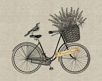 Vintage Bicycle Lavender Basket. Instant Download Digital Image No.344 Iron-On Transfer to Fabric (burlap, linen) Paper Prints (cards, tags)