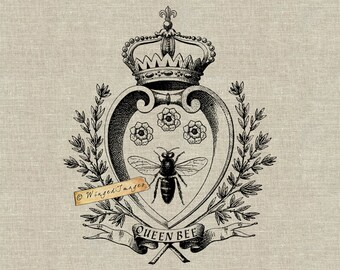 Queen Bee. Instant Download Digital Image No.348 Iron-On Transfer to Fabric (burlap, linen) Paper Prints (cards, tags)