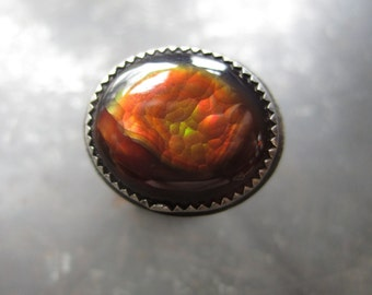 Fire Agate Sterling Silver Ring