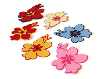 Hibiscus die cuts - 4 dies (3 in.) - choose your colors and size (C36)