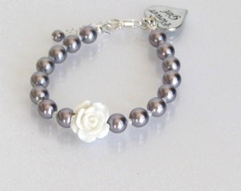 Flower Girl Bracelet, Pearl Flower Girl Bracelet, Mauve Flower Girl Jewelry, Junior Bridesmaid Bracelet, Junior Bridesmaid Bracelet,