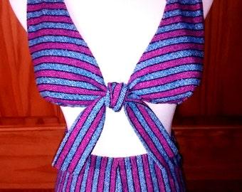 VTG 50s 60s Bombshell Blue Striped High Waist 2 Piece Pin Up Bikini Swimsuit Tie Front S