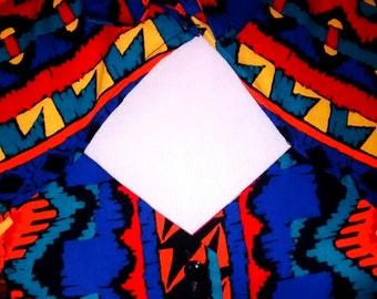 VTG 80s Colorful SOUTHWESTERN Country Aztec CUTOUT Button Shirt Top Blouse