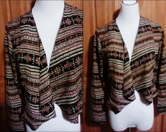 VTG 80s 90s Grunge Tribal Slouchy Art Deco Crop Top Blouse Jacket Cardigan