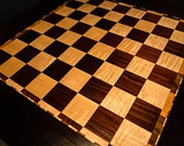 Triple Bordered & Unique Solid Cambia And Tiger Maple Deluxe Standard Sized Chess Checkers Board Hardwood Chess Board Walnut Chess Board
