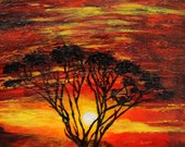 "African Sunset on 9"" x 12"" Box canvas,  acacia tree, landscape painting,  original canvas painting, wall decor, Africa acryiic art"