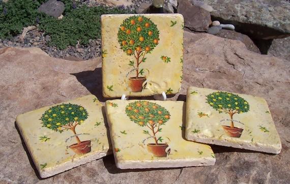 Lemon Orange Tree Coasters Home Decor Spring Fruit