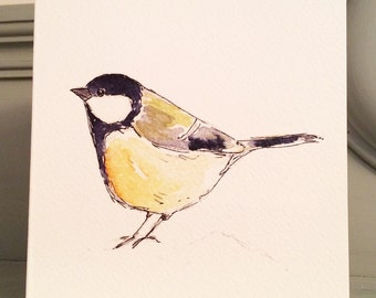 Sale Great Tit Blank Garden Bird Greetings Card