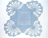Blue crochet doily, square doily