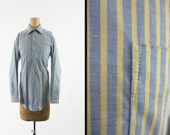 Vintage 70s Pinstripe Dress Shirt Blue Yellow Arrow Sanforized Made in USA - Medium 15 - 33