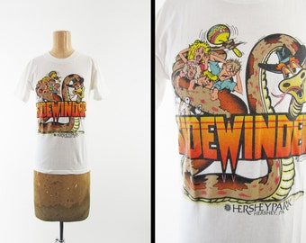 Vintage Hershey Park T-shirt Sidewinder Roller Coaster 90s Made in USA - Small