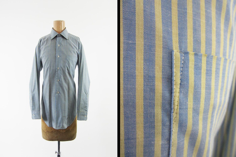 Vintage 70s Pinstripe Dress Shirt Blue Yellow Arrow Sanforized