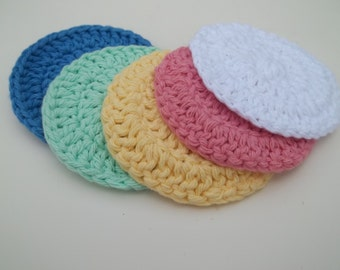 Cotton Face Cloths - Set of 5 in Bright Colors