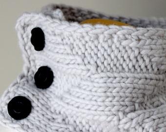 Knitting Pattern Cowl, Geometric Cowl, Grey