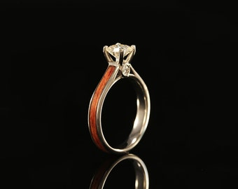 14k Wood Engagement Ring