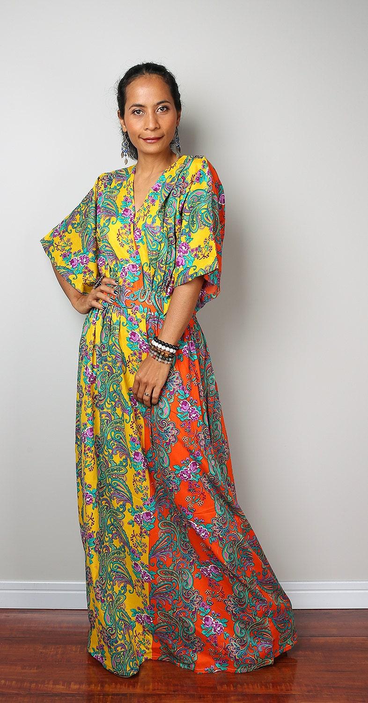 Kimono Dress Bohemian Yellow Orange Maxi Dress  Boho by Nuichan