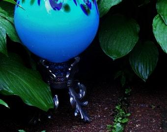 Blue Gazing Ball Garden Fleur-de-lis Vintage Brass Pedestal Up-cycled  Hannah's Reverie