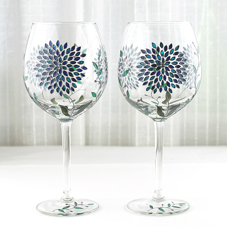 Wine Glasses With Hydrangea Design Wedding Glasses Hand