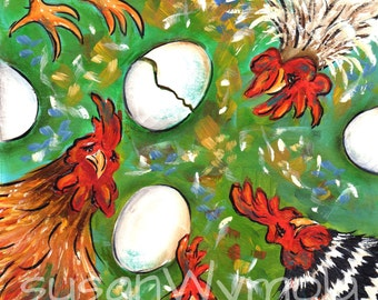 Print from Original Art by Susan Wymola Chickens Whimsical