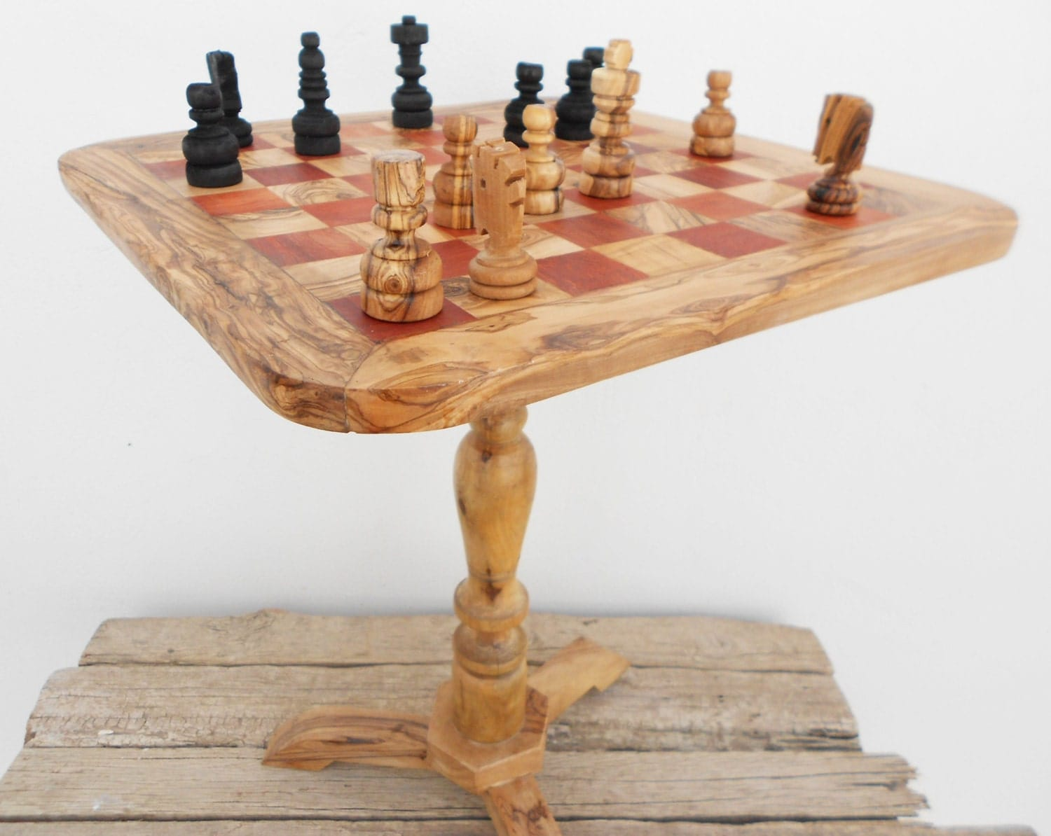 Wooden Chess Table ~ Olive wood unique rustic chess table wooden by
