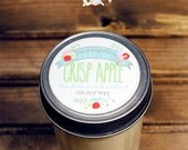 Crisp Apple Soy Wax Candle in 8 oz. Jelly Jar - Apple Fruit Candle for Men, Women, Birthday, Mother's Day, Housewarming, Home, Hostess Gift
