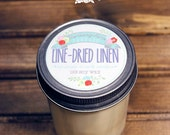 Line-Dried Linen Soy Wax Candle in 8 oz. Jelly Jar - Fresh Clean Laundry Candle for Birthday, Unisex, Summer, Home, Housewarming, Hostess