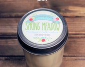 Spring Meadow Soy Wax Candle in 8 oz. Jelly Jar - Green Grass Soy Candle for Spring, Birthday, Housewarming, Home, Summer, Hostess Gift