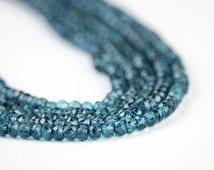 London Blue Mystic Quartz Faceted Rondelles 20 Blue Semi Precious Gemstone winter color