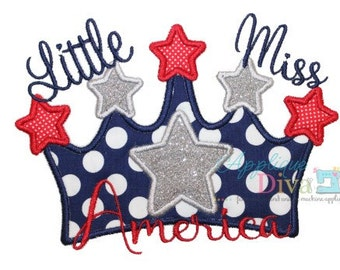 4th of July Little Miss America Digital Embroidery Design Machine Applique