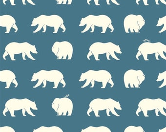 Bear Camp - Bear Hike Blue - Organic Cotton Print by Jay-Cyn Designs from Birch Fabrics