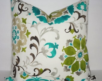 OUTDOOR Teal Lime Green Floral Pillow Cover Teal Flower Deck Patio Pillow Cover Choose Size