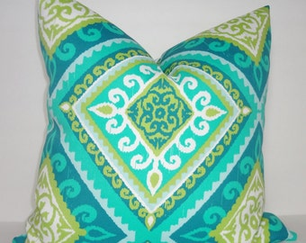 OUTDOOR Turquoise Blue Green Citrine Diamond Print Outdoor Pillow Cover Geometric Print Choose Size