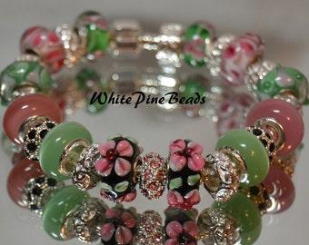 Pink and Green European Charm Bracelet Handmade Murano Glass Lampwork Bead