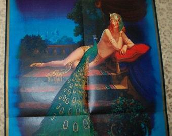 1936 Art Deco Pin Up Girl Egyptian Revival Calendar Huge Poster Flapper