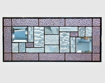 Stained glass panel window geometric purple mauve abstract stained glass window panel window hanging modern contemporary GP1