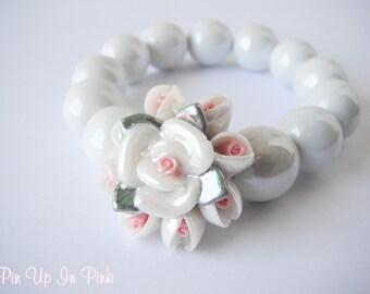 Vintage Inspired Floral Porcelain Bracelet