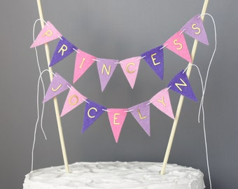 Pink and Purple Princess Party Cake Topper Banner, Fairytale Party Decoration Centerpiece Sign, Gold Letters, Custom Birthday Cake Bunting