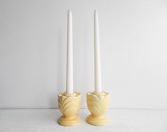 Pair of Vintage Yellow Shawnee Pottery Candle Holders - Short Ceramic Candleholders, Art Deco Tulip Design