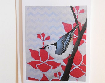White Breasted Nuthatch Blank Note Card