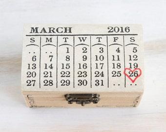 Ring Bearer Box Wedding Ring Box Save the Date Wedding Box Customizable Calendar Box Personalized Natural Ring Bearer Wedding Box